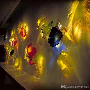 New Arrivals Hand Blown Glass Wall Plates Art Projetado Placa Lâmpadas parede de vidro Murano Hotel Wall Decor Art Glass