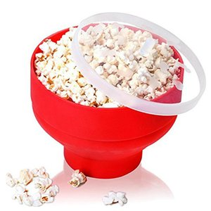Microwave Popcorn Poppers Foldable Easy Use For DIY Food Making Home Kitchen Collapsible Silicone Bowl with Cover 20x14.5cm(Red)
