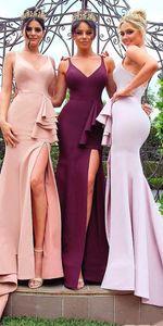 En stock Sexy sirène v Cou Blus Rose Long robes de demoiselle d'honneur pas cher Split avant demoiselle d'honneur robes B001