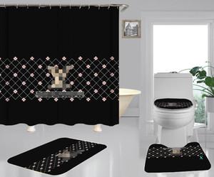 L 편지 유행 샤워 홈 인테리어 매트 소프트 미끄럼 방지 카펫 작은 꽃 커튼 빈티지 그리드 목욕 Curtain01 인쇄하기