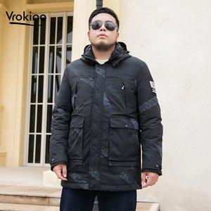 Casual Camouflage Down Jacket 2019 inverno degli uomini del nuovo stile di modo stampato incappucciato Warm Bianco anatra Piumino Aumentare la taglia