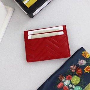 Titular de la tarjeta monedero Marmont 443127 de las mujeres rojas vende bolso de la tarjeta clásica de alta calidad carpeta del diseñador de cuero con número de serie