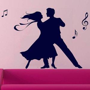 Pareja de baile sala de Vinilos Adhesivos Para Danza Cartel Decoración pegatinas Dance Studio mural de la oficina vinilo decorativo