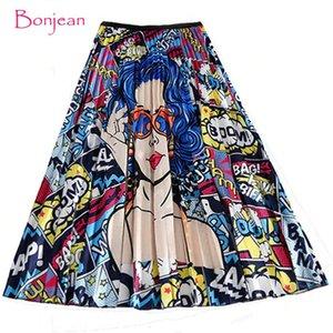 BONJEAN Pleated Skirt Girl Female Long Skirt Women for Girls Y200704