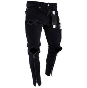 Hommes Zipper Trous Designer Jean Noir Déchiré Slim Fit Represen Crayon Pantalon