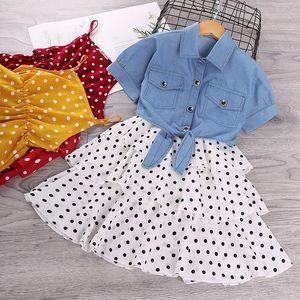 kids designer clothes girls denim jacket Coat+Sling Dot dress children Cake Suspenders Princess Dresses 2020 summer baby Clothing Z1011