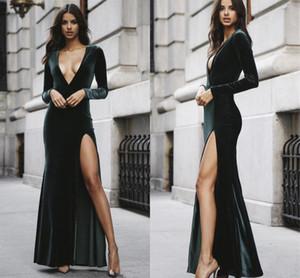 높은 측면 섹시한 깊은 V 넥 댄스 파티 드레스 긴 소매 벨벳 Vestidos 드 노비 지퍼 위로 공식적인 이브닝 가운