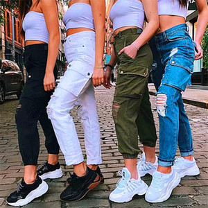 Womens Pencil Pants Ripped Hole High Waist Casual Streetwear Pants Blend Cotton Pocket Cargo Pants P818