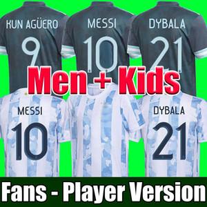 Мужчины + Дети наборы 2020 Аргентина футбол Джерси версия Вентиляторы игрок 2021 Копа Америка футбол топ наборы рубашки Messi DYBALA Агуэро LO CELSO