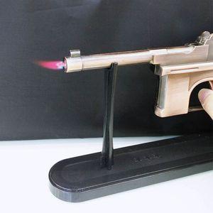 Pistola a forma di pistola Accendisigari sigaro modello mauser forma rame colore metallo antivento butano ricaricabile a gas modello torcia display 22 cm