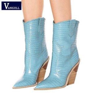 Vangull Timsah Deri Deri Çizme Moda Kabartmalı Mikrofiber Kadınlar Boots Sivri Burun Batı Kovboy Orta buzağı takozları