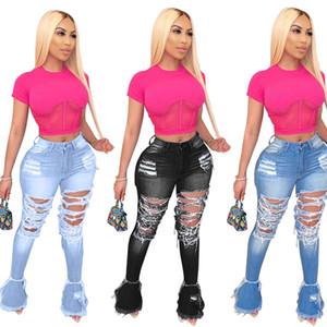 Calças Mulheres Denim Flared longas de Bell inferior Jeans Calças Sexy Furo rasgado Corpo Inteiro Leggings Bodycon Streetwear Stylish Vestuário 856