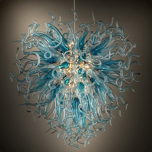 LED modernes bleu Lustres éclairage Hanglamps pour manger Salon Cuisine Fixture en verre de Murano lampe Lustre