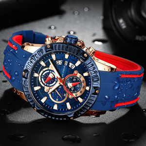 Minifocus Top Hombres Moda Deporte Relojes Hombres Cuarzo Analógico Fecha Reloj Hombre Silicona Militar Impermeable Reloj Relogio masculino Y19052004