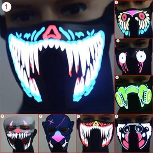 Maschere LED luminoso lampeggiante Maschera partito maschere Light Up di ballo di Halloween Cosplay lattice mascherina del partito barra luminosa a LED