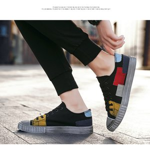 2020 new summer canvas men's patchwork color retro do old cloth shoes breathable Korean version fashion casual board shoes