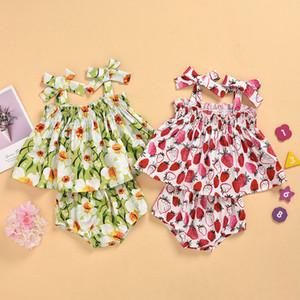 Lovely Print Baby Girls Vestiti Estate Strawberry Stampa floreale Sling Top + Pants Pants Pantaloncini 2pcs / Set Toddler Frutta infantile Abiti da frutta M1429