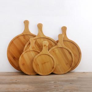 Nahrungsmittelgrad-Bambusrunde Nahrungsmittelbehälter 8 Größe-Bambusrunde Pizza-Behälter mit Griff, der Pizza-Schneidebrett-Behälter backt Hauptbackformen-Werkzeuge D1295