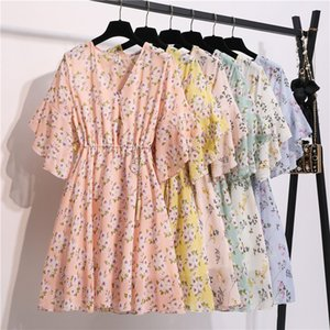 Ruffle Sleeve Elastic Sweet Elegant Dresses 2020 Summer V-neck Floral Chiffon Dress Women Casaul Floral Print Dress with Lining