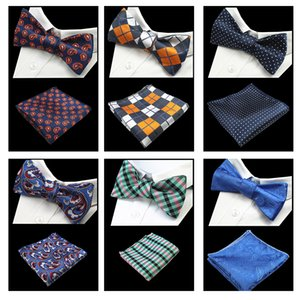 JEMYGINS New Quality Papillon Cravatta e Hanky ​​Set Silk Jacquard Woven Men BowTie Pocket Square Fazzoletto Suit Wedding