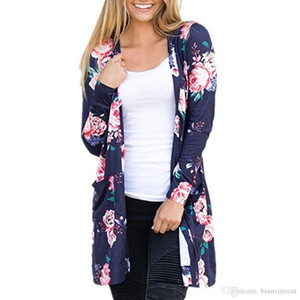 2019 Floral Jackets Winter Cardigans Casual Blouse Outwear Loose Sweater Women Vintage Coats Knitted Tops Pullover Jumper