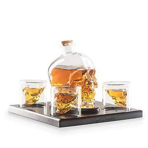 Qualitäts-Halloween-Schädel-Shaped Liquor Glass Decanter-Geschenk-Sets mit 4 Gläsern
