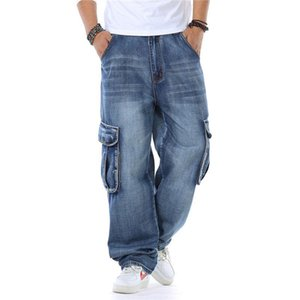 New Japan Style Brand Mens Straight Denim Cargo Pants Biker Jeans Men Baggy Loose Blue Jeans With Side Pockets Plus Size 40 46