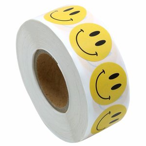 "Yellow Smiley Face Happy Stickers 1"" Inch Round Circle Teacher Labels 500 Total (1 pack)"