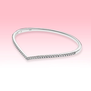 Women Wedding Bracelet 935 Sterling Silver CZ diamond Jewelry for Pandora Sparkling Wishbone Bangle Bracelets with Original box