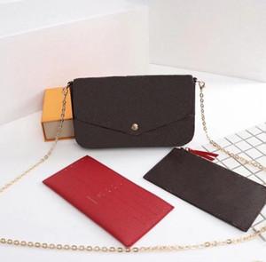 Bolsos de mujer Bolsas de la cadena Bagbag 3 piezas / Conjunto de billetera para hombre Flor Bolsa de Crossbody Bolsos de señoras con caja
