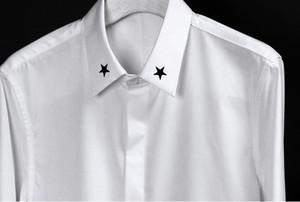 Ultra low price homens vestido de camisa colarinho bordado pentagrama 2 cores de manga longa camisa masculina plus size 3xl magro dos homens camisa casual