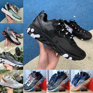 2019 Nike react element 87 Shoes New Air max 87s Scarpe da corsa per uomo Donna Bianco Nero NEPTUNE VERDE Blu Mens Trainer Design Sneakers sportive traspirante