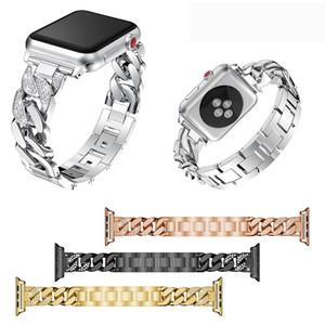 Metallo Bracciale in acciaio inossidabile Band Apple Osservare 1 2 3 42/38 millimetri di lusso del diamante cinghia iWatch Serie 4 5 fasce 44 / 40mm