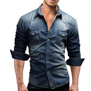 Männer Button-Down-Smart Casual Denim Wash Cotton Tee Shirts Langarm-blaue Farbe Fit Tops M-XXXL