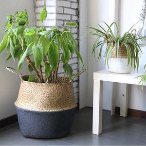 10 개 순수 수제 대나무 저장 바구니 접이식 세탁 밀짚 패치 워크 위커 등나무 해초 배꼽 정원 화분 화분 바구니