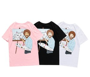 European and American tide brand short-sleeved T-shirt cheap cat middle finger cat tribute painter oil painting brush printing cartoon half-