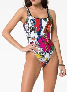 Moda-2019 Nuevo Diseñador de Lujo Medusa Bikini Sexy carta de mujer Imprimir Traje de baño Ropa de playa Moda Triángulo Sexy de una pieza de baño