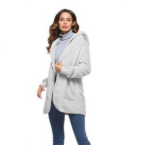 Chaqueta de mujer chaquetas para las mujeres Tamaño S 5Xl Escudo gran oso capa de la chaqueta abierto de la manera de la puntada de invierno de mujeres de manga larga chaqueta de Fuzzy