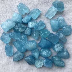 High Quality Natural Genuine Raw Mineral Blue Aquamarine Hand Cut Nugget Free Form Rough Matte Faceted Pendant Necklace Bracelet Beads 06067