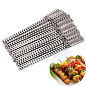 30pcs réutilisable Barbecue plat en acier inoxydable Brochettes BBQ Stick Outils Needle camping en plein air de pique-nique Outils de cuisine