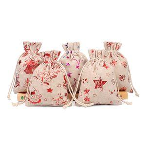Noël Sac cadeau Cartoon Père Noël Candy Bag Bonhomme de neige Arbre de Noël Imprimer Sac à cordonnet Sac de jute Sacs Fête de Noël Fournitures DBC VT1194