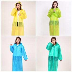 Loose Hood Raincoat With Button Transparent Plastic EVA Waterproof Unisex Poncho Rainwear Breathable Travel Rain Coat High Quality 4 7yt E19