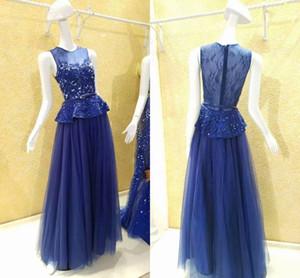 Navu Blue Mother Of The Bride Dresses Pumplet Waist Lace Crystal Beads Sheer Neckline Jewel Cap Sleeve Women Evening Gowns Wedding Guest