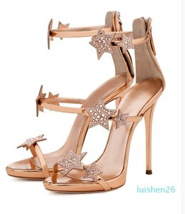 Hot sell! 2020 summer new star water-drill slip-toe platform with gladiator sandals and stiletto heels High-heeled sandals size 33-40 FA13