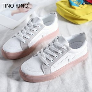 TINO KINO Nueva Primavera Mujeres Pisos Encaje lienzo Hasta vulcanizados Zapatos causal de las mujeres zapatillas cómodas señoras de la plataforma Mujer