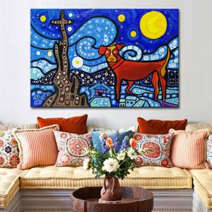 -.52-0039 # подставил UNFRAME Mintura Звезды и животных DogHome Декор расписанную HD Печать Картина маслом на холсте стены искусства Холст Фотографии