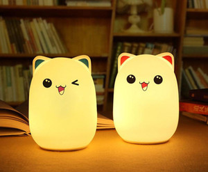 Colorful Silicone Soft USB Rechargeable Animal Night Light Cute Cat Table Lamp Adults Children Baby Bedroom LED Light Nursery Night Lamp 10