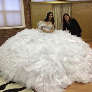 명품 2020 의상을 입고 빈티지 빈티지 빛나는 화이트 Organza Tulle 공 가운 집시 웨딩 드레스 신부 가운