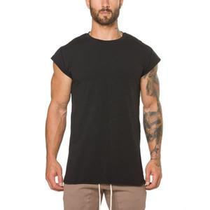 2019 gym new men's fashion Fitness Sports Sleeveless T-shirt, shoulder-straightening training jacket, slim cotton gym T-shirt