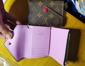 cuero real de 2022 mujeres de la calidad del hombre caja original de lujo multicolor titular de la tarjeta monedero clásico corta con cremallera bolsillo Victorine